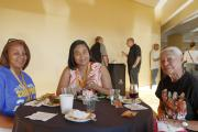 Ohlone Elder Anne Marie Sayers (right) with other attendees