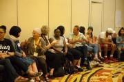 Circle participants engage one-another in discussion