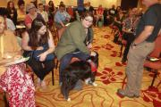 Attendees meet the Therapy Dog during Paws for Peace Session