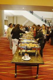Attendees at Buffet Line at Lunch