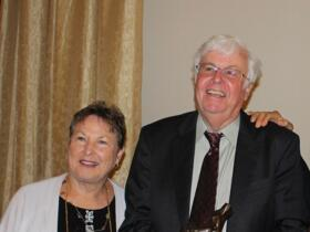 Prof. Scott Wood celebrates with Jeannie Wood and Mr. and Mrs. Weiner