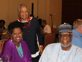 Saleem and Ivy Hylton with Prof. Margaret Burnham (standing)