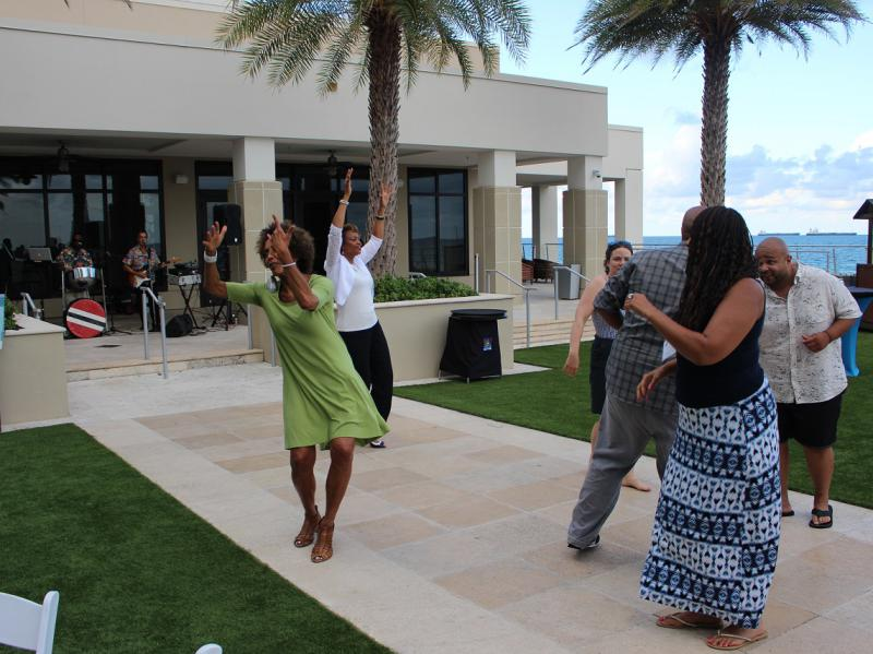 Fania Davis and Others Dancing at the Reception